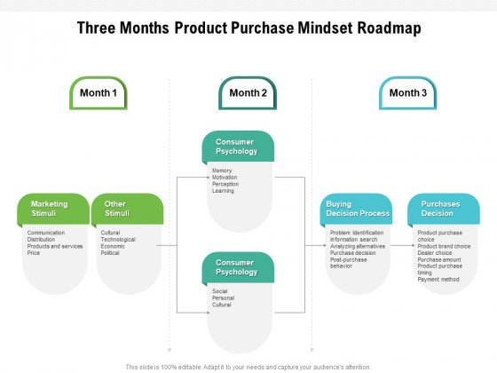 Three Months Product Purchase Mindset Roadmap Slides