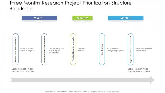Three Months Research Project Prioritization Structure Roadmap Structure