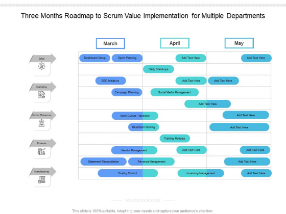 Three_Months_Roadmap_To_Scrum_Value_Implementation_For_Multiple_Departments_Formats_Slide_1