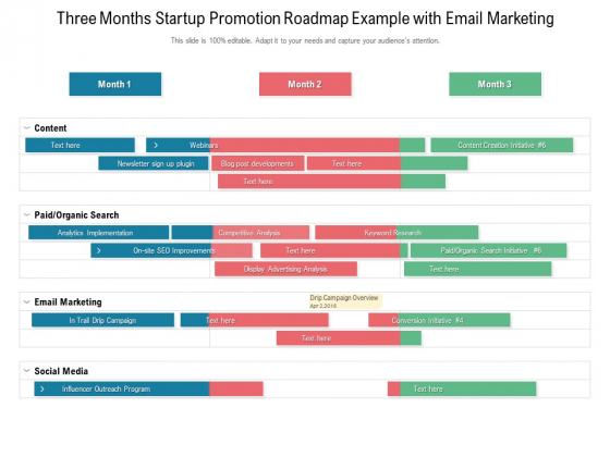Three Months Startup Promotion Roadmap Example With Email Marketing Introduction
