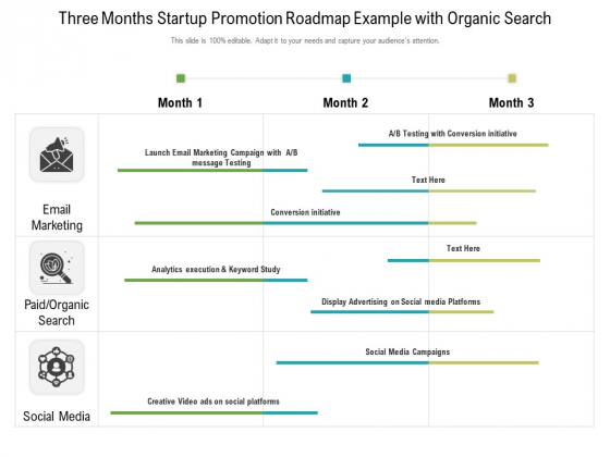 Three Months Startup Promotion Roadmap Example With Organic Search Ideas