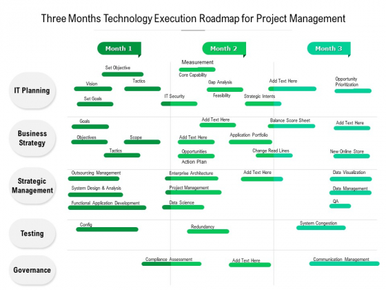 Three Months Technology Execution Roadmap For Project Management Summary