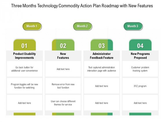 Three Months Technology Product Strategy Roadmap With New Features Designs