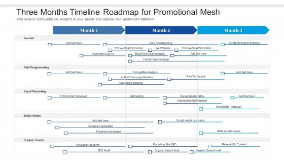 Three Months Timeline Roadmap For Promotional Mesh Icons