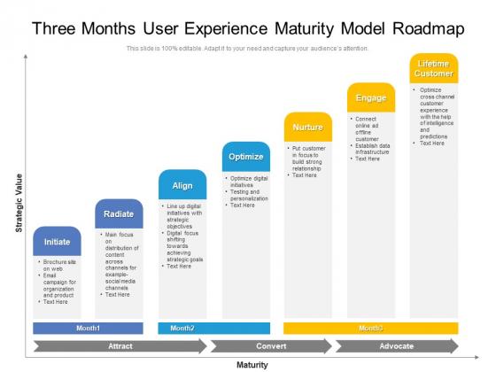 Three Months User Experience Maturity Model Roadmap Topics