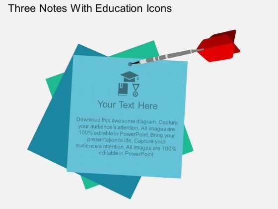 Three Notes With Education Icons Powerpoint Template