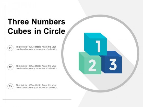 Three Numbers Cubes In Circle Ppt PowerPoint Presentation Professional Slide