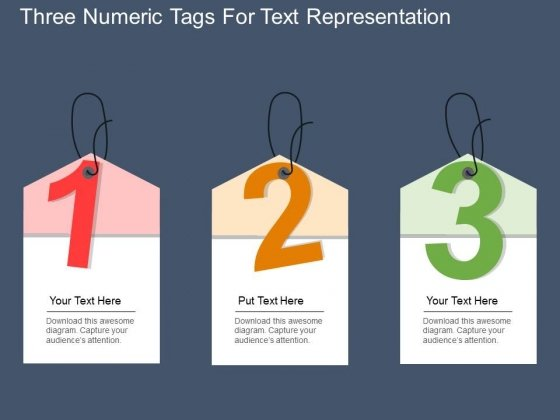 Three Numeric Tags For Text Representation Powerpoint Template