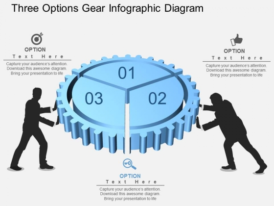 Three Options Gear Infographic Diagram Powerpoint Template