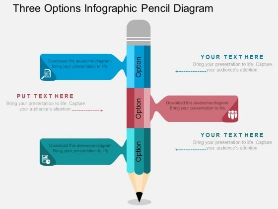 Three Options Infographic Pencil Diagram Powerpoint Template