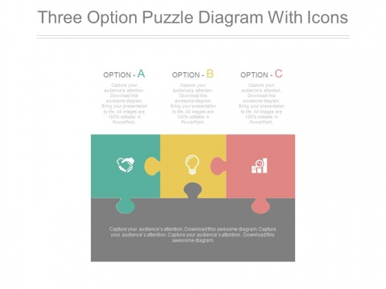 Three Options Puzzle Diagram With Icons Powerpoint Slides