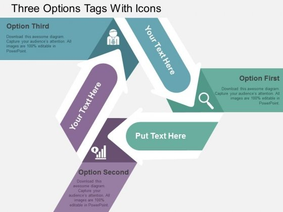 Three Options Tags With Icons Powerpoint Templates