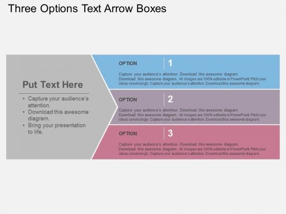 Three Options Text Arrow Boxes Powerpoint Templates