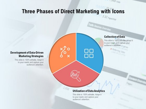 Three Phases Of Direct Marketing With Icons Ppt PowerPoint Presentation Portfolio Example