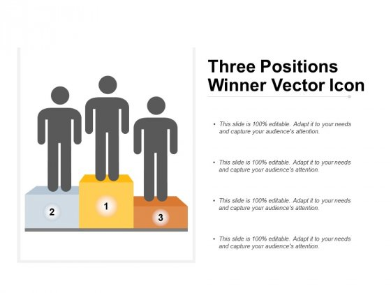 Three Positions Winner Vector Icon Ppt PowerPoint Presentation Layouts Icon