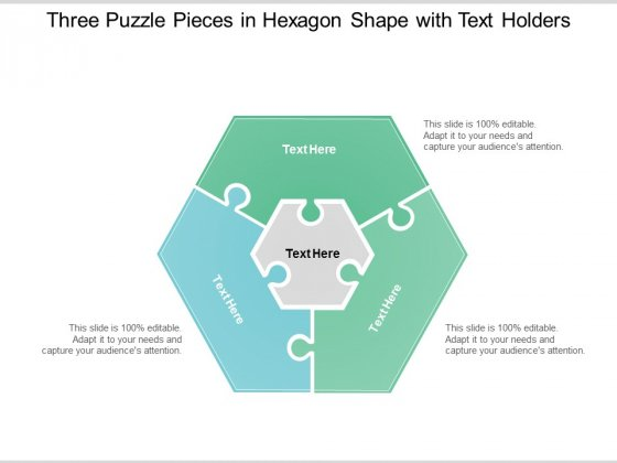 Three Puzzle Pieces In Hexagon Shape With Text Holders Ppt Powerpoint Presentation Inspiration Graphics Example