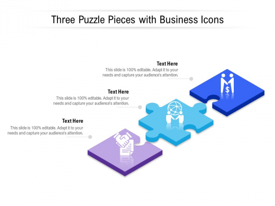 Three Puzzle Pieces With Business Icons Ppt PowerPoint Presentation Infographic Template Deck PDF