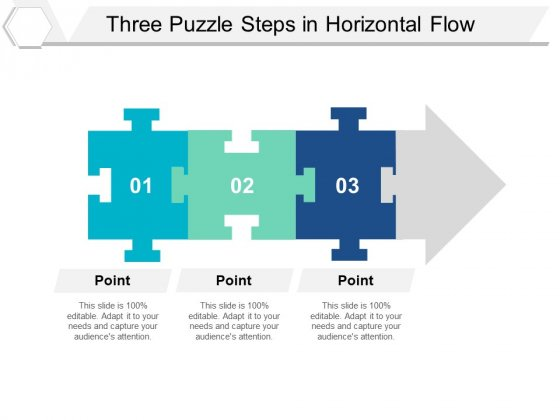 Three Puzzle Steps In Horizontal Flow Ppt PowerPoint Presentation Icon Structure