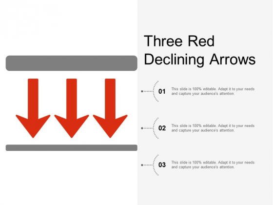 Three Red Declining Arrows Ppt Powerpoint Presentation Model Deck