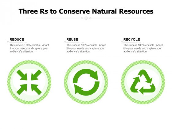 Three Rs To Conserve Natural Resources Ppt PowerPoint Presentation Outline Slide Portrait PDF