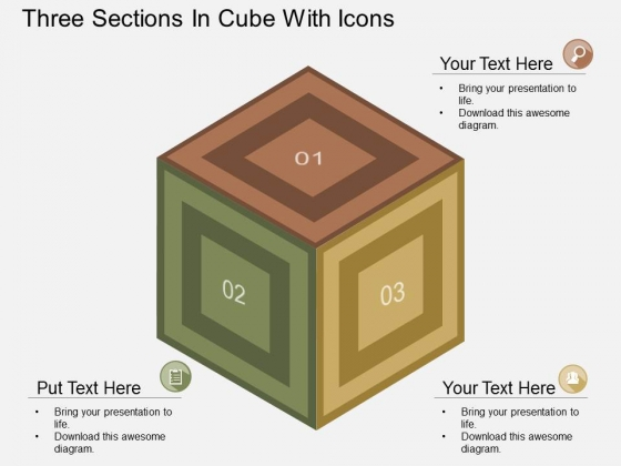 Three Sections In Cube With Icons Powerpoint Template