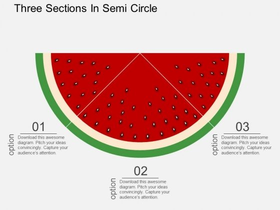 Three Sections In Semi Circle Powerpoint Template