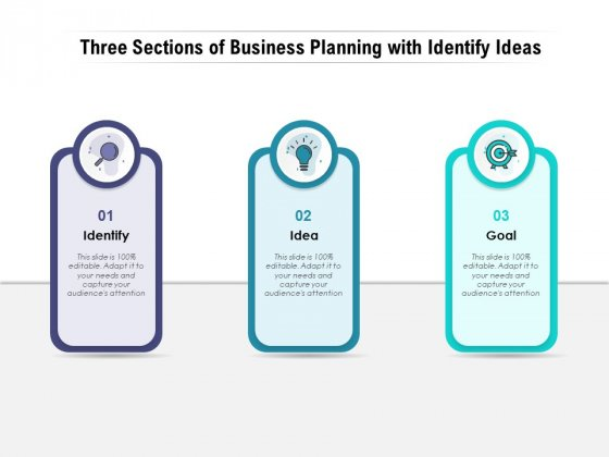 Three Sections Of Business Planning With Identify Ideas Ppt PowerPoint Presentation File Gridlines PDF