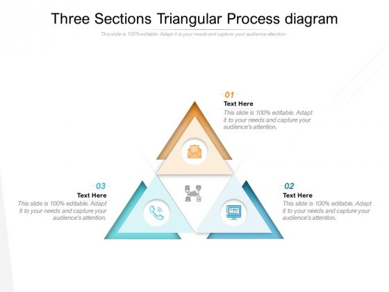 Three Sections Triangular Process Diagram Ppt PowerPoint Presentation Infographics Sample
