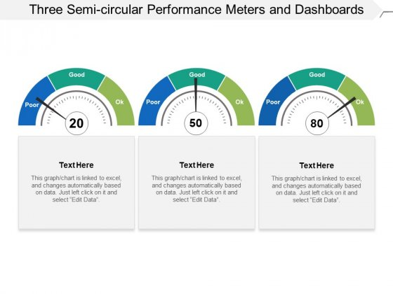 Three Semi Circular Performance Meters And Dashboards Ppt PowerPoint Presentation Slides Influencers