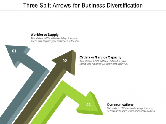 Three Split Arrows For Business Diversification Ppt PowerPoint Presentation Styles Files