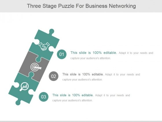 Three Stage Puzzle For Business Networking Ppt PowerPoint Presentation Introduction