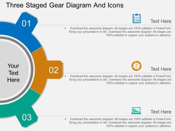 Three Staged Gear Diagram And Icons Powerpoint Template