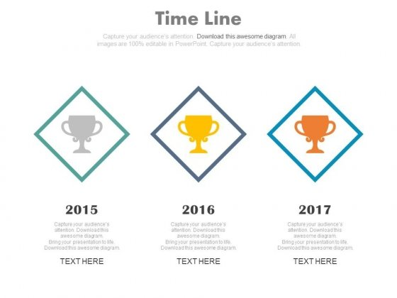 Three Staged Timeline For Success Milestones Powerpoint Slides