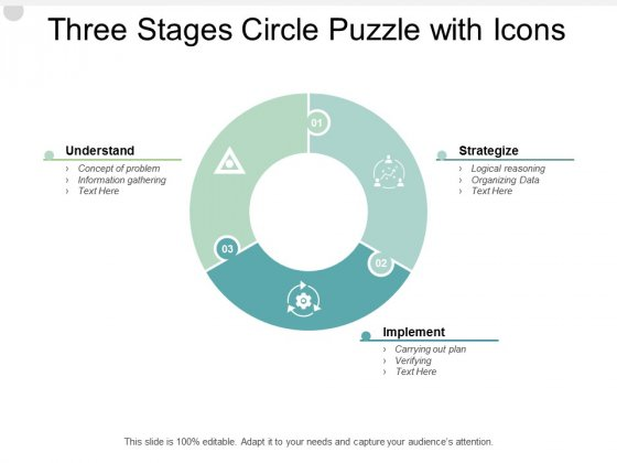 Three Stages Circle Puzzle With Icons Ppt PowerPoint Presentation Inspiration Clipart Images