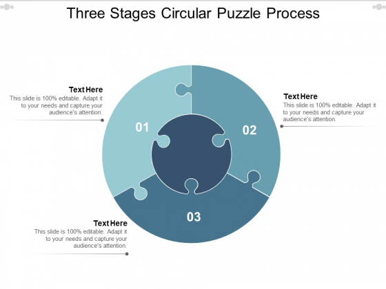Three Stages Circular Puzzle Process Ppt PowerPoint Presentation Gallery Gridlines