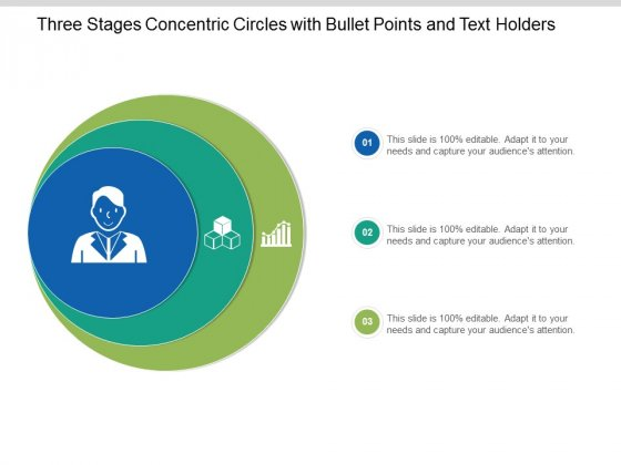 Three Stages Concentric Circles With Bullet Points And Text Holders Ppt Powerpoint Presentation Icon Files