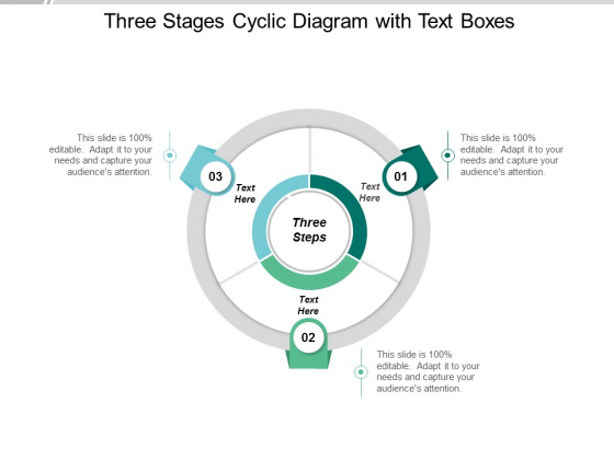 Three Stages Cyclic Diagram With Text Boxes Ppt Powerpoint Presentation Styles Example File