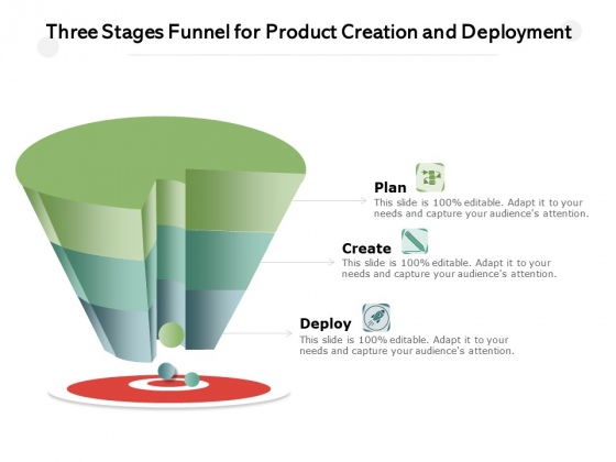 Three_Stages_Funnel_For_Product_Creation_And_Deployment_Ppt_PowerPoint_Presentation_Professional_Elements_PDF_Slide_1