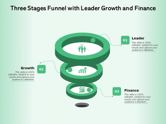 Three_Stages_Funnel_With_Leader_Growth_And_Finance_Ppt_PowerPoint_Presentation_File_Graphic_Tips_PDF_Slide_1