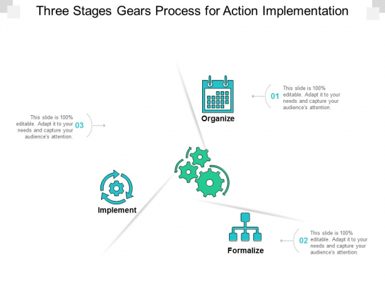 Three Stages Gears Process For Action Implementation Ppt Powerpoint Presentation File Templates