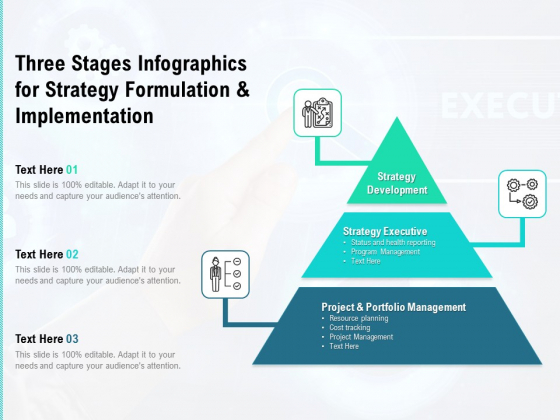 Three Stages Infographics For Strategy Formulation And Implementation Ppt PowerPoint Presentation Pictures Brochure