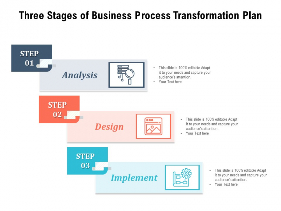 Three Stages Of Business Process Transformation Plan Ppt PowerPoint Presentation Styles Graphic Tips PDF