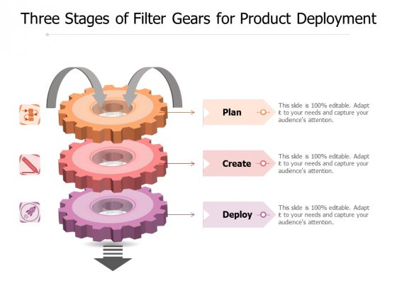 Three Stages Of Filter Gears For Product Deployment Ppt PowerPoint Presentation Styles Graphics PDF