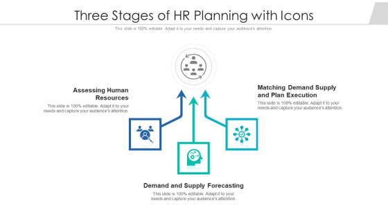 Three Stages Of HR Planning With Icons Ppt PowerPoint Presentation File Good PDF