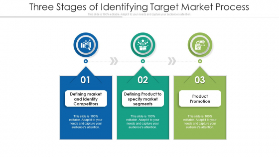 Three Stages Of Identifying Target Market Process Ppt Icon Grid PDF