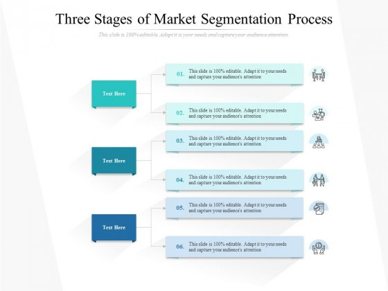 Three Stages Of Market Segmentation Process Ppt PowerPoint Presentation Styles Ideas