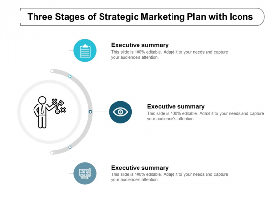 three stages of strategic marketing plan with icons ppt powerpoint presentation styles outfit