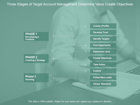 Three Stages Of Target Account Management Determine Value Create Objectives Ppt PowerPoint Presentation Portfolio Elements Cpb