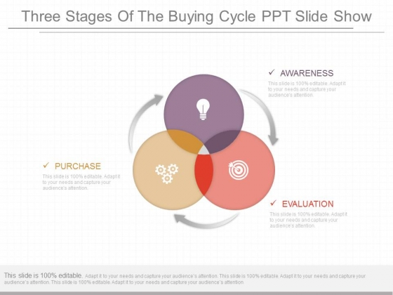 Three Stages Of The Buying Cycle Ppt Slide Show
