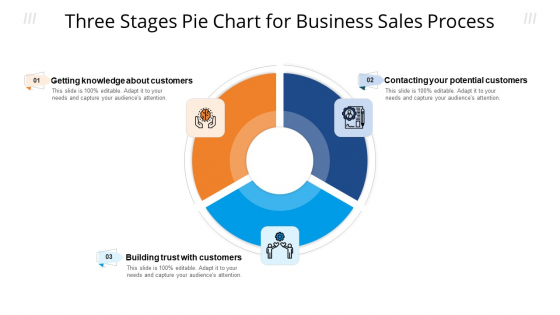 Three Stages Pie Chart For Business Sales Process Ppt Infographic Template Aids PDF